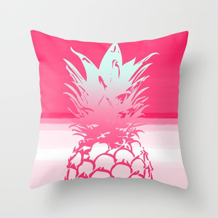 Pink Pineapple Tropical Beach Design Throw Pillow 💕💕 pillows  Cute and kawaii designs on pillows  for teens, girls and kids. Find decorative pillows for bedroom, with sayings or beautiful designs. #design #decor #society6 #cute #kawaii #pillow #pillows #sboar #lovely #interior #home #bedroom #bedroomdecor #animals #pets #wild #flower #floorpillow #floor #mermaid