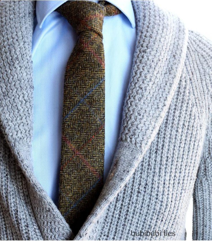 Green herringbone woolen necktie - bubibubi ties