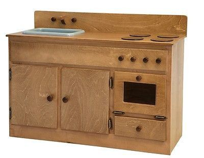 KITCHEN SINK STOVE and OVEN Solid Oak Amish Handmade Wood Kitchen Play Furniture Set Made in USA