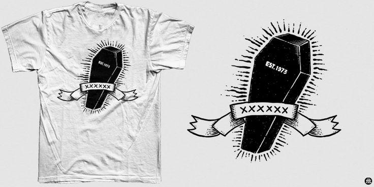 """black coffin"" t-shirt design by sebrodbrick"