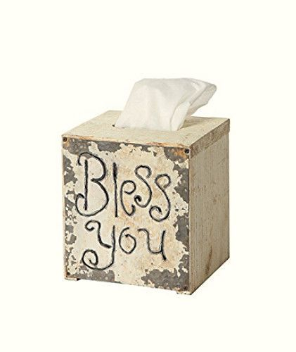 New Country Farmhouse Chic Shabby White BLESS YOU Tissue Kleenex Box Cover