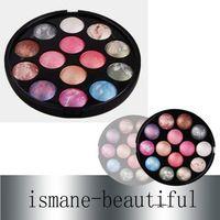 Descuento grande Profesional 14 color al horno Glitter Paleta Sombra de Ojos 10 Sombra de Ojos y 4 Kit de maquillaje Colorete