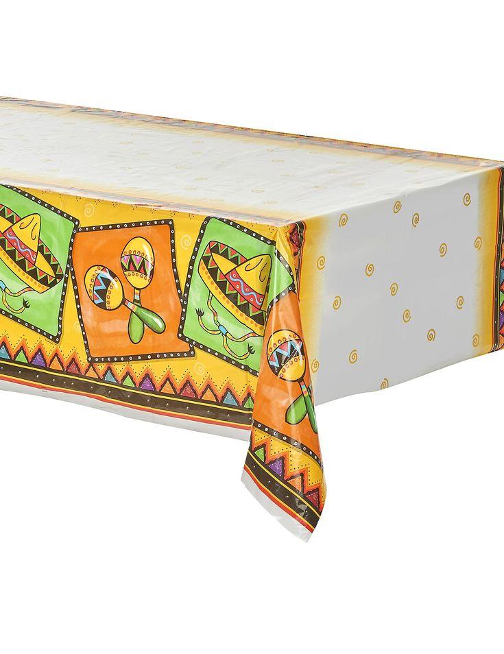 Plastic Mexicaans tafelkleed : Dit tafelkleed met Mexicaanse thema opdruk is gemaakt van dun plastic en meet ongeveer 140 x 210 cm.Het tafelkleed is bedrukt met Mexicaanse decoratie zoals sombrero's en samba ballen in...