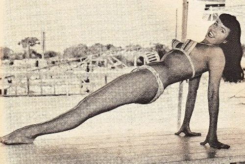 1960's: Bettie Page in Magazine Snappy Digest, March edition (vintage yoga photo)