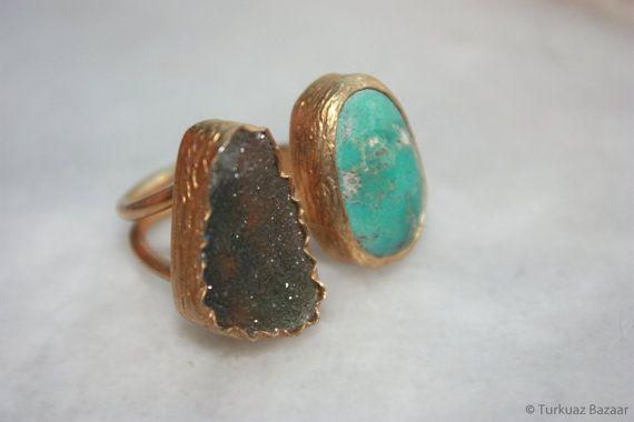 Mahfiruz Turquoise & Aquamarine Ring set in 22k by TurkuazBazaar, $70.00