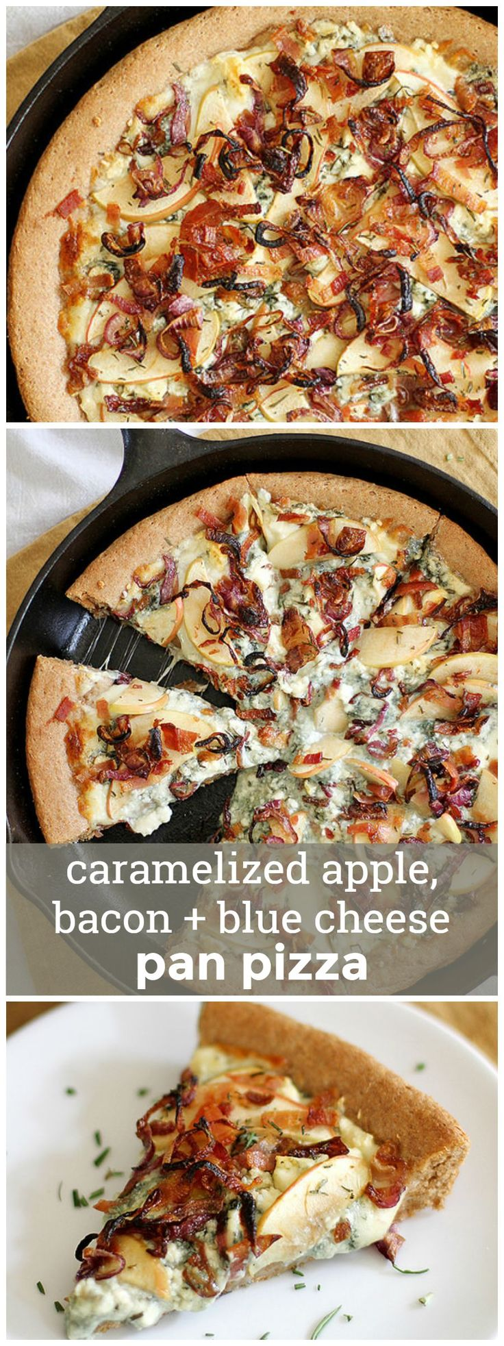 Caramelized Apple, Bacon & Blue Cheese Pan Pizza -- the most perfectly sweet and savory pizza you'll ever make from scratch. girlversusdough.com @girlversusdough