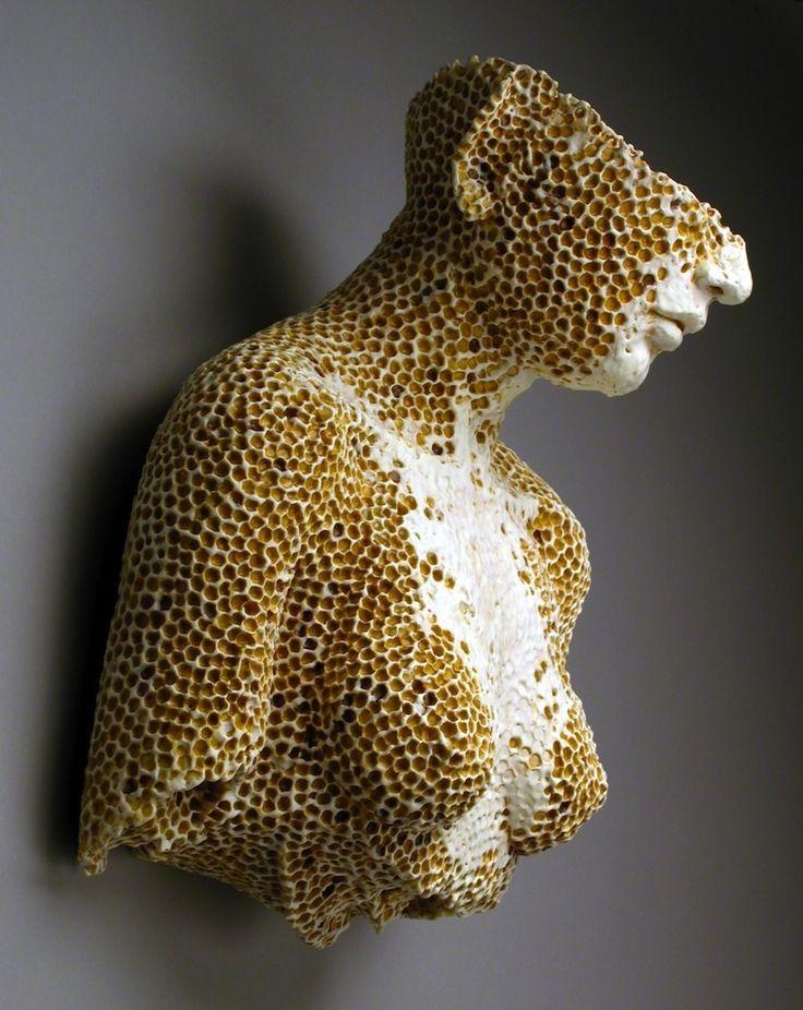 Adrian Arleo - Hive Bust - Clay, glaze, wax encaustic