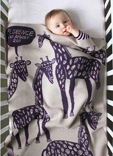 Personalized Happy Giraffe baby blanket (by Noohn).