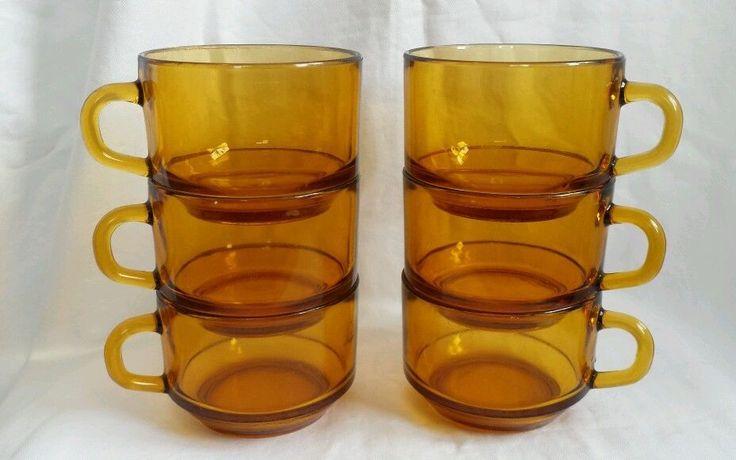 Vereco France Amber Glass Cup Mug, set/6 Kitchenware Home Collectible #Vereco