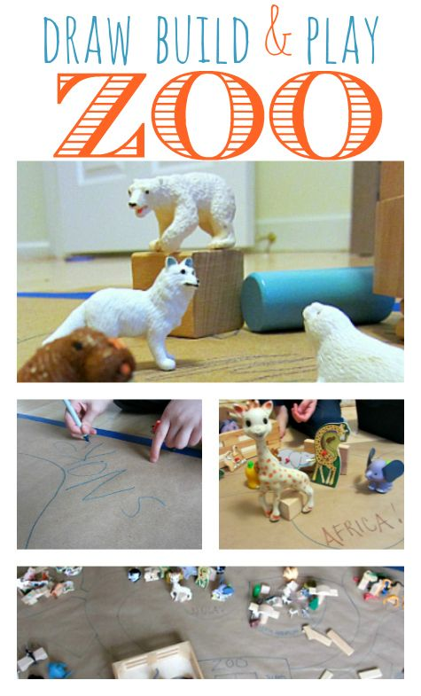 Block Zoo Pretend Play - design and create your very own zoo. { Includes book recs about the zoo } via @Allison j.d.m j.d.m @ No Time For Flash Cards #pretend #play