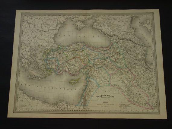 TURKEY old map LARGE 1866 original antique map by DecorativePrints