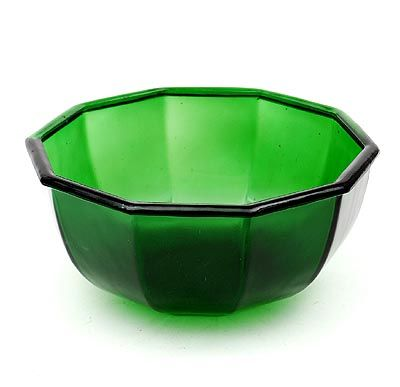 Bottle-green pressed glass slop bowl, design K.P.C.de Bazel 1920, executed by Glasfabriek Leerdam / the Netherlands