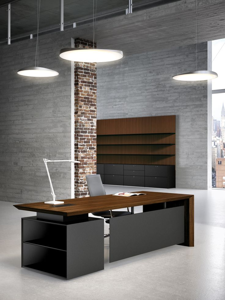 Multipli CEO walnut and black executive office desks.
