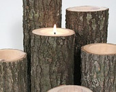Tree Branch Candle Holders I- Rustic Wood Candle Holders, Tree Bark, Wooden Candle Holders. $16.50, via Etsy.