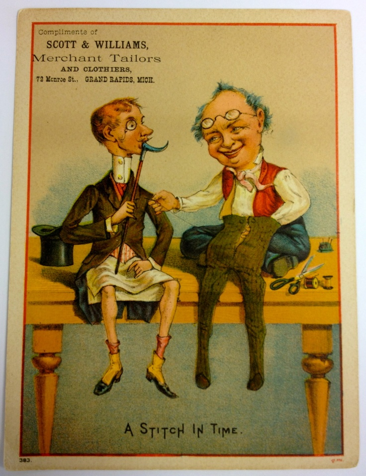 Trade card for Scott & Williams, Merchant Tailors, 72 Monroe St - c. 1890 - Part of the Public Museum collection, http://www.grmuseum.org: Monroe St, Merchant Tailors, Trade Cards, Http Www Grmuseum Org, 72 Monroe, Victorian Illustrations, Inspiration Ii