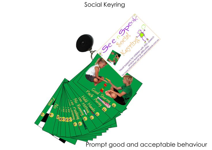 Acceptable behaviour support visual aids on a clip-on expandable keyring to prompt social skills and appropriate behaviour support for those with Autism and language & learning difficulties