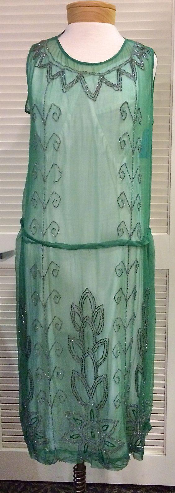 1920's beaded light green dress