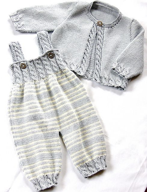 Ravelry: Baby Overalls with detailed cabled bodice and matching sweater P037…