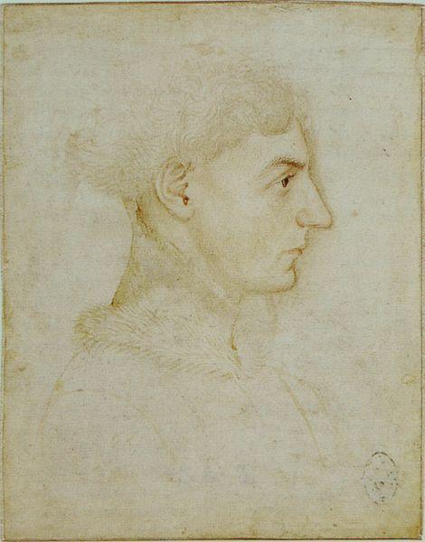 Pisanello. A young man, mid 15 C. Codex Vallardi 2321, Louvre, Paris.