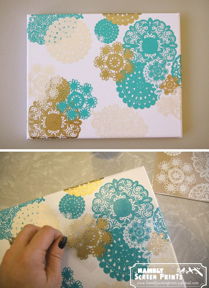 † Doily Rub-on Canvas - of course i'm already thinking of other ways to get the same effect, so I can use different colors ... love the look though. And ... doilies would make such nice snowflakes in white on a blue canvas ...