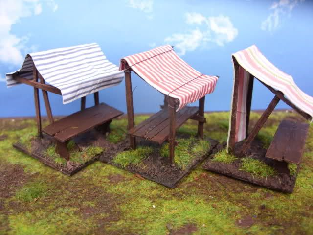 Market stalls (1:72 but could be made bigger)