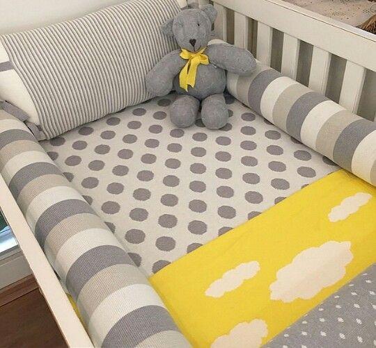 Cinza, branco e amarelo - Rian tricot
