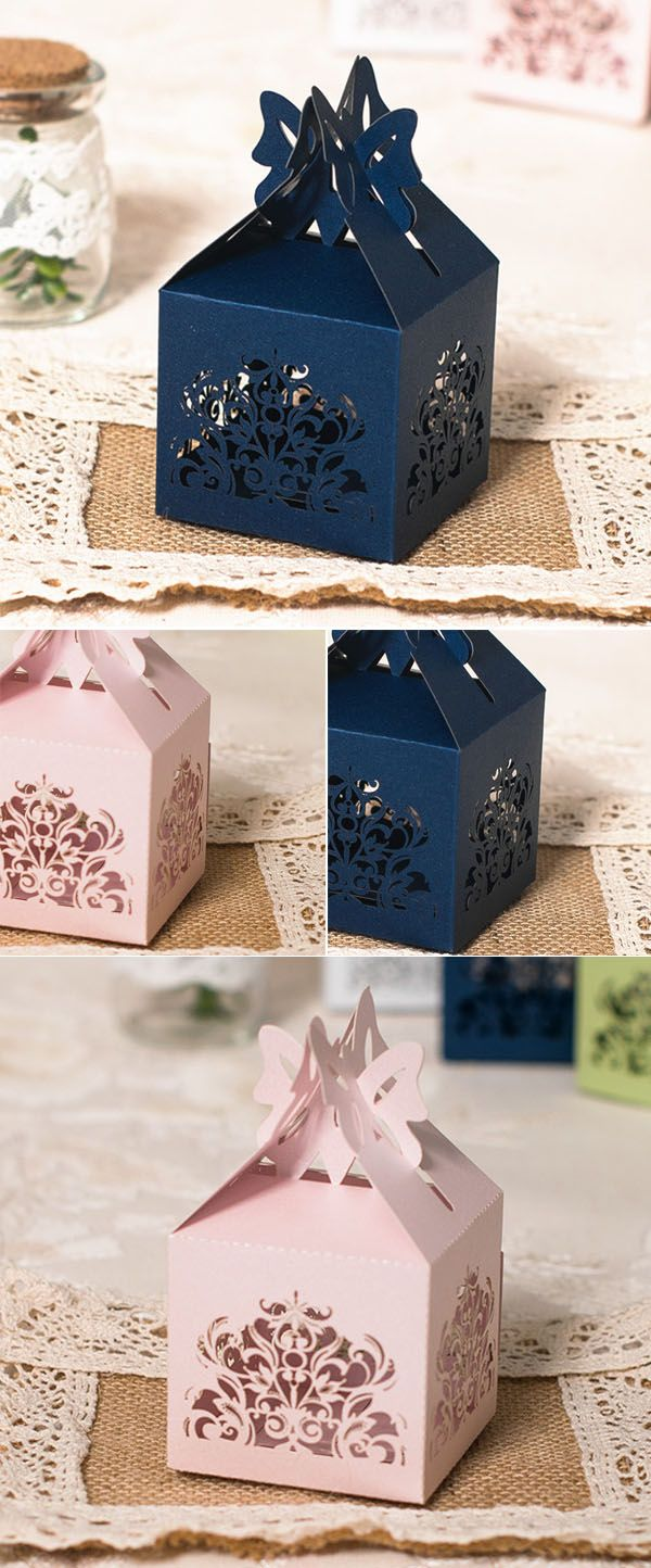 navy blue and pink laser cut wedding favor boxes