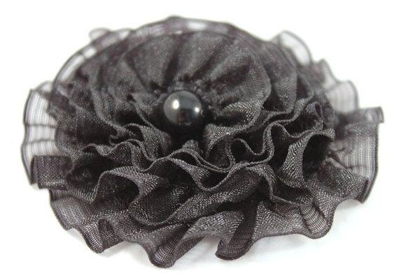 Small black brooch round flower girl accessory by CrystalHandmade, $16.00