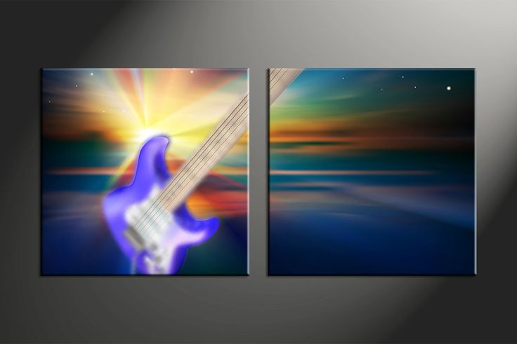 2 Piece Colorful Guitar Music Canvas Wall Art