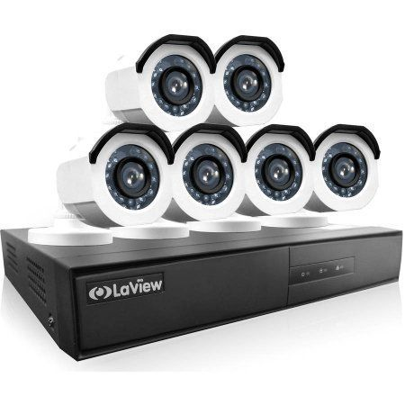LaView 6-Camera 8-Channel High-Definition DVR Security System with 720p HD Bullet Surveillance Camera, 1TB Hard Drive and Remote View, White