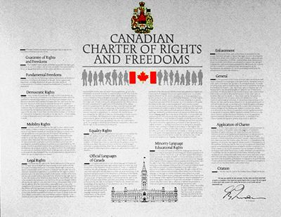 Charter Comes Into Effect  Apr 17, 1982 - The Canadian Charter of Rights and Freedoms came into effect. The Charter guarantees all Canadians fundamental rights, democratic rights, mobility rights, legal rights, equality rights and linguistic rights.