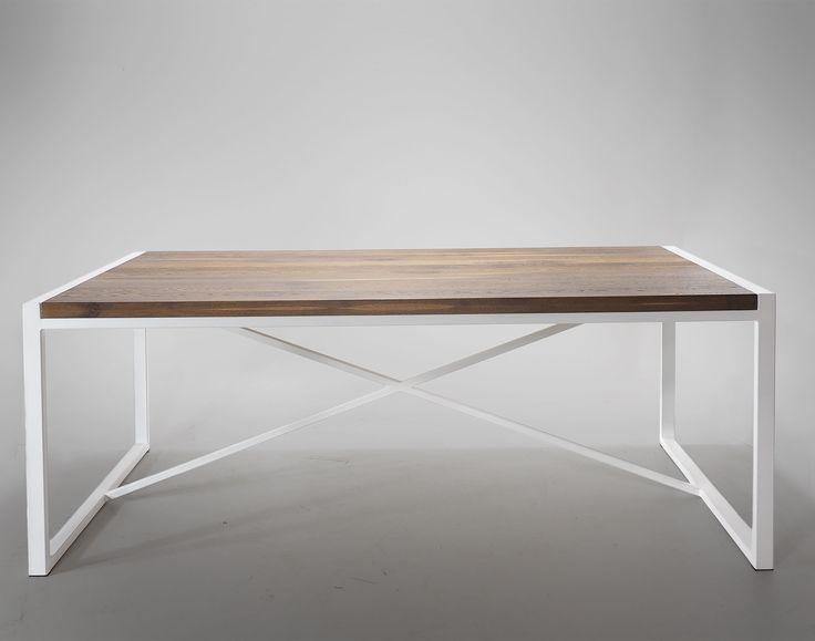 Industrialny stół loftowy z dębowym blatem na białych nogach - Wymiary…