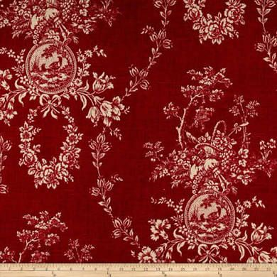 Waverly Country House Red Toile Home Decorating Fabric By The Yard ...