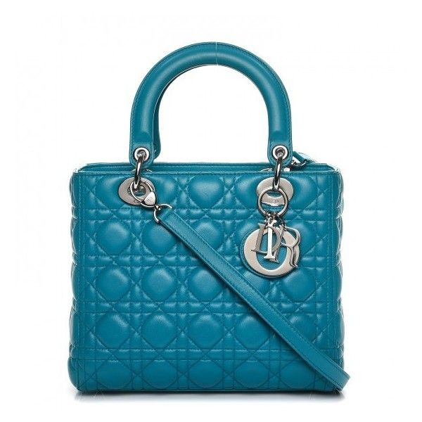 CHRISTIAN DIOR Lambskin Cannage Medium Lady Dior Turquoise ❤ liked on Polyvore featuring bags, handbags, turquoise purse, zip tote, man shoulder bag, shoulder hand bags and man tote bag