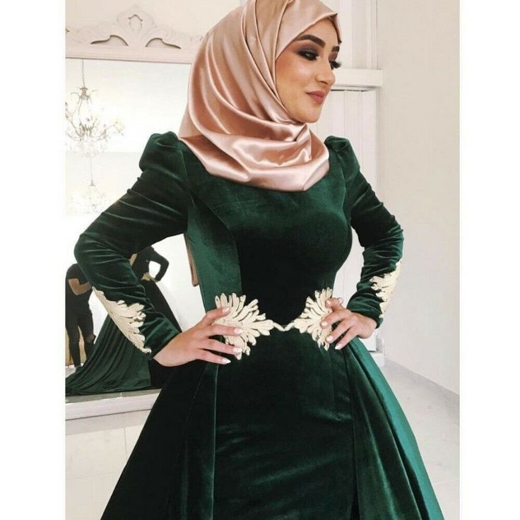 Dark green velvet mermaid muslim wedding evening dresses
