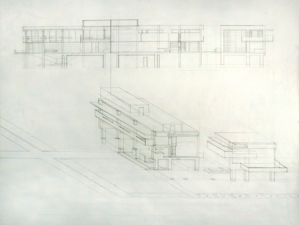 Rudolph Schindler, Lovell Beach House drawing by Jenny Werbell, via Behance