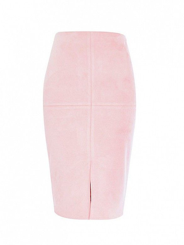 River Island Light Pink Faux Suede Pencil Skirt