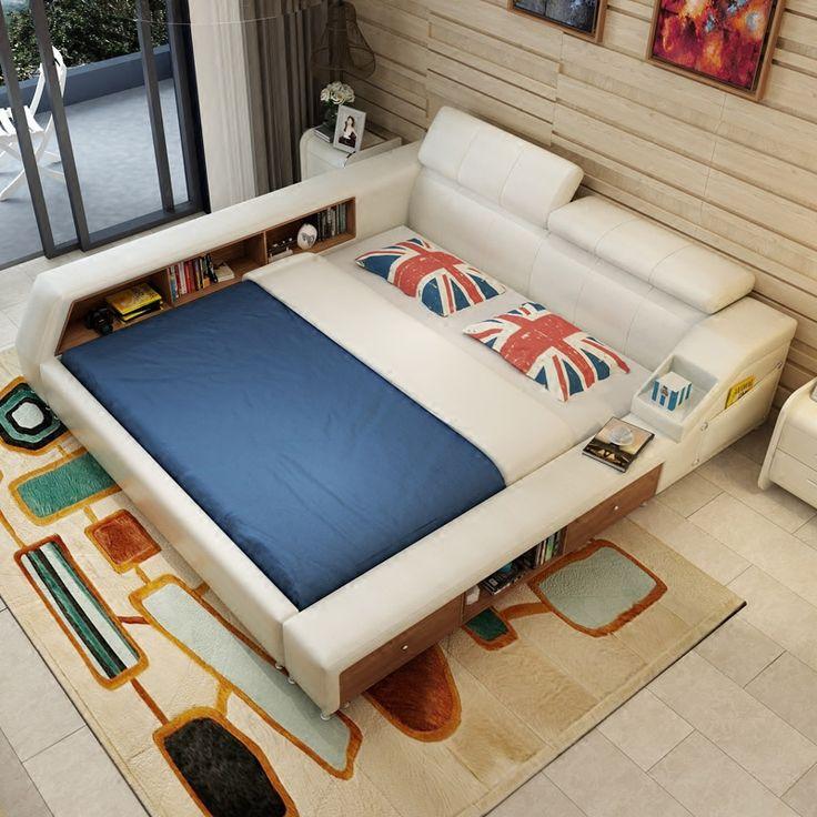 Современная кожаная кровать хранения кровать кадр с двумя боковыми шкафы белый цвет не матрас наборы мебели для спальни