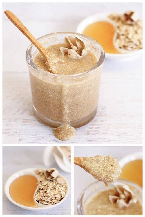 3 ingredients in this homemade oatmeal honey face scrub that exfoliates, moisturizes and leaves your skin feeling silky smooth! Homemade Blush, Homemade Lip Balm, Sugar Scrub Diy, Face Scrub Homemade, Homemade Masks, Masque Facial Diy, Vegan Jerky, Diy Face Scrub, Body Scrub