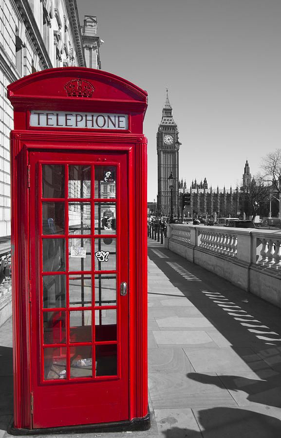 Westminster Photograph - Big Ben Red Telephone Box by David French
