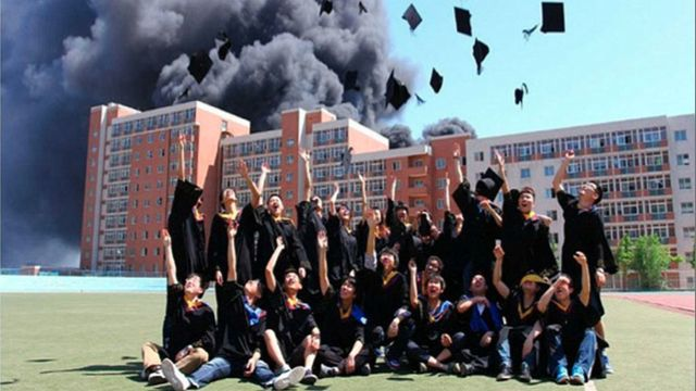 New Grads Toss Their Caps While Their School Burns, Baby, Burns