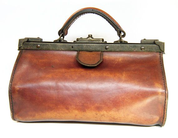 Antique French Leather Doctors Bag Gladstone Bag