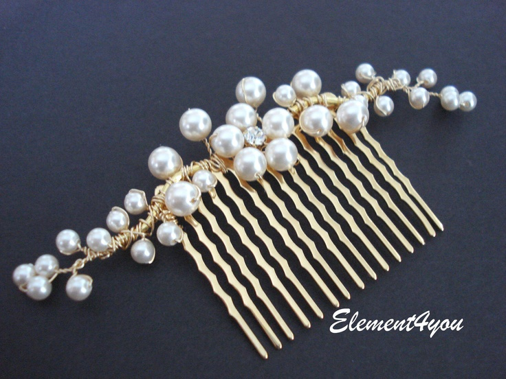 Bridal hair comb, gold branches, pearl flower, Swarovski ivory or white pearls, wedding hair piece, accessories, rhinestone, Bridal hairdo. $26.00, via Etsy.
