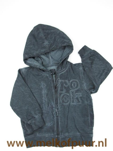 Losan Junior grijs vest verbleekte stijl fleece gevoerd met rock print 92 - Melkofpuur