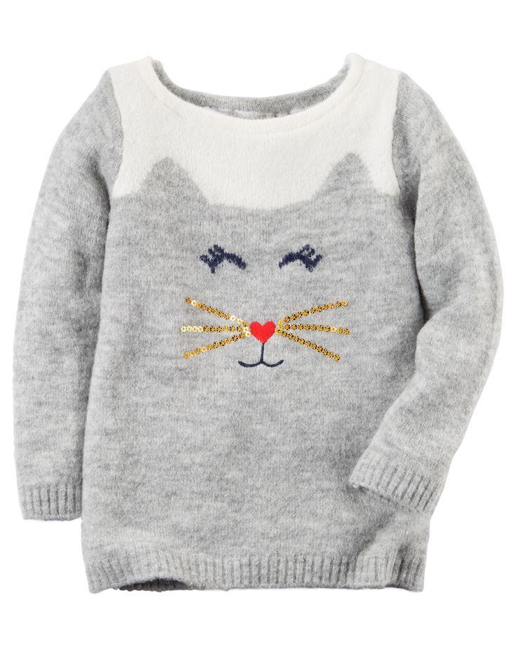 Baby Girl Cat Sweater | Carters.com                                                                                                                                                     Mais