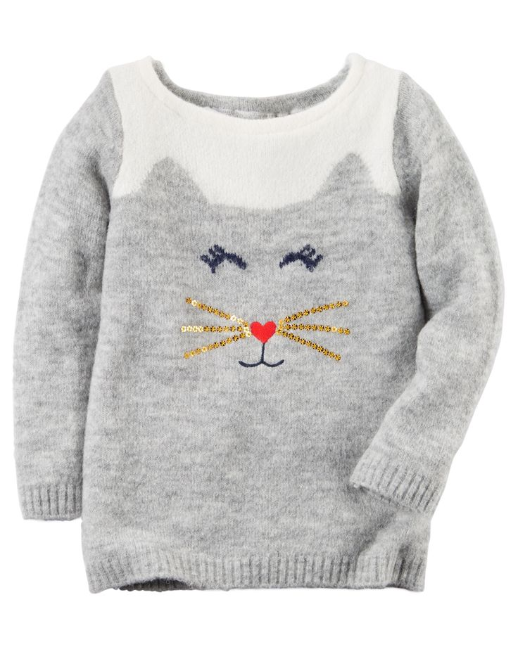 Baby Girl Cat Sweater | Carters.com                                                                                                                                                     Mais