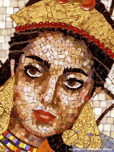 Mosaics:  Queen Esther's Banquet - mosaic portrait - Lilian Broca