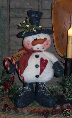 Primitive Winter Christmas Snowman Doll Pattern 259 | eBay