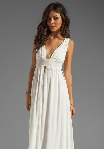 INDAH Anjeli Empire Maxi Dress in White - Indah