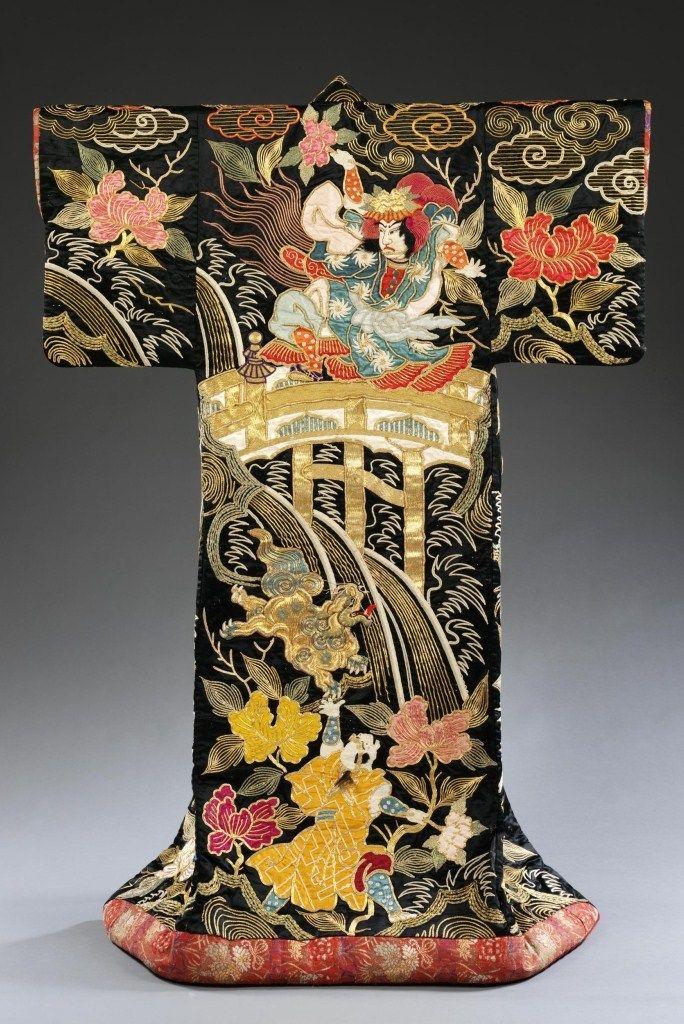 Kimono, 1870-1890 Satin; embroidery. Victoria and Albert Museum.